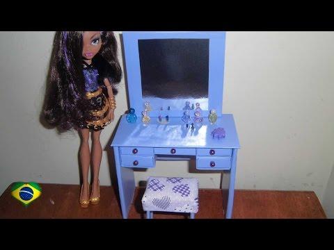 Como fazer uma penteadeira & escrivaninha para boneca Monster High. Pullip. Barbie e etc