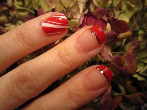 Candy Cane French Tip Nail Art Tutorial