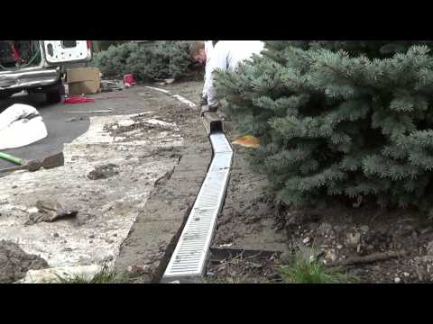 Channel Drain ~ Howto install Driveway Channel Grate system ~ Pavers ~ remove standing water