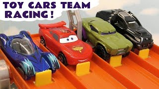 Learn Colors racing with Cars Lightning McQueen and Hot Wheels Superhero colored cars TT4U