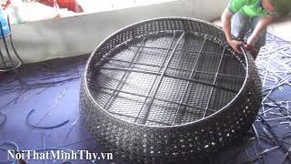 Hướng dẫn đan ghế hồ bơi nhựa giả mây MT445 đan sợi mây nhựa dây dẹp rộng 17mm dày 1.2mm