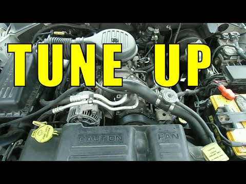 Change SPARK PLUGS distributor cap and rotor Tune Up - chrysler dodge durango dakota jeep ram