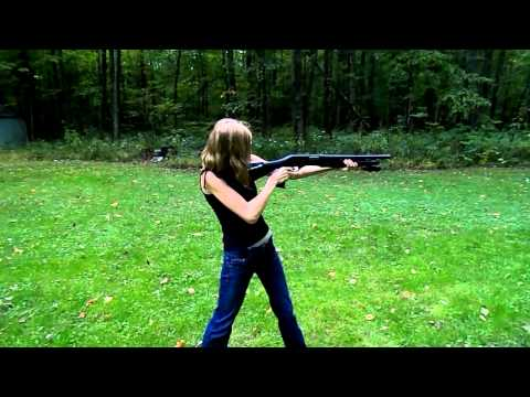 Girl shoots a Stevens 320 home defense shot gun for the first time