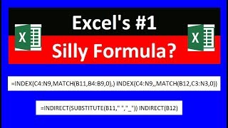 Excel's # 1 Silliest Formula: INDEX or INDIRECT? Excel Magic Trick 1571 (Two Way Lookup Trick)