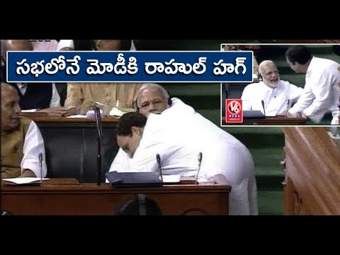 Rahul Gandhi Hugs PM Modi After His Speech | No-Confidence Motion In Parliament | V6 News