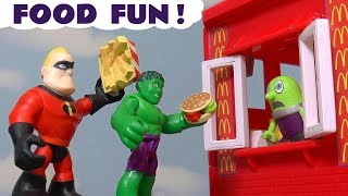 Funny Funlings Cooking Food Fun at McDonalds Drive Thru with Hulk and Thomas The Tank Engine TT4U