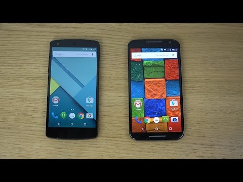 Nexus 5 Android 5.0 Lollipop vs. Motorola Moto X 2014 Android 5.0 Lollipop - Which Is Faster? (4K)