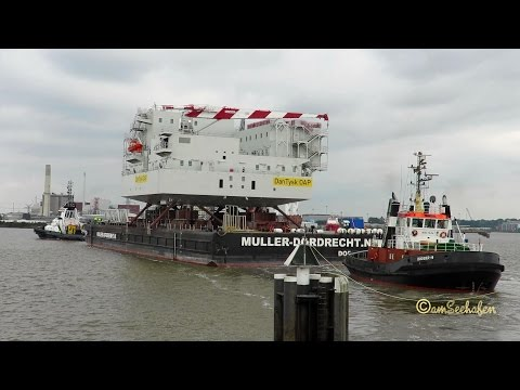 tugs BUGSIER 19 DIBW & CORVIN DNQA barge with offshore accomodation Nordseewerke Emden
