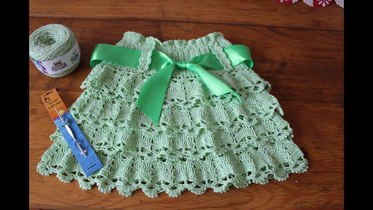 Вязание для детей крючком-юбочка. Пошаговый мк 48