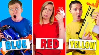 Using Only ONE Color in CRAZY Nerf War! - Challenge