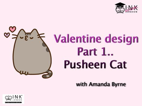 Pusheen Cat Valentine Design using INK London iLac and Gel Paints