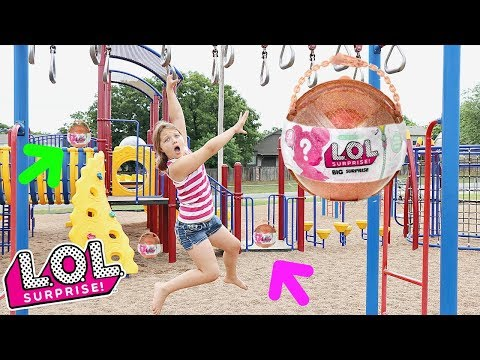 LOL Surprise BIG Surprise Scavenger Hunt For LOL Dolls At The Outdoor Playground PARK with Kids! thumbnail