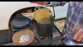 Wilderness Family Camping, Trout Fishing, Firebox Stove Cooking With Our Dogs Ash & Juni. Part 04/04