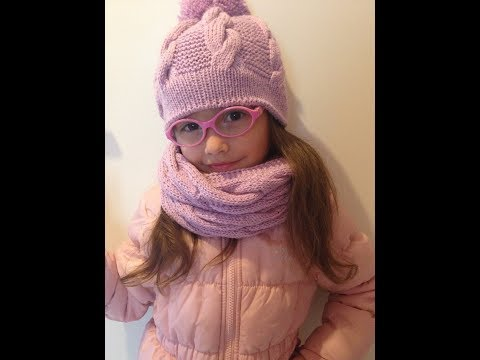 Вязание спицами шапок для девочек 5-6 лет 8