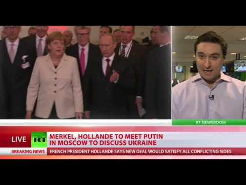 Hollande, Merkel begin Kiev-Moscow 2-day Ukraine peace plan tour