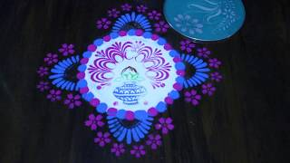 Colourful rangoli use with stencil || New year rangoli || sankranthi rangoli || creative rangoli