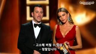 Jimmy Kimmel & Sofia Vergara presenting at Emmys 2013 (Korean sub)
