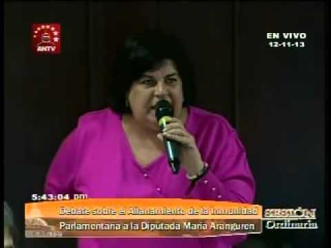 Palabras finales de la diputada Aranguren en la Asamblea Nacional de Venezuela