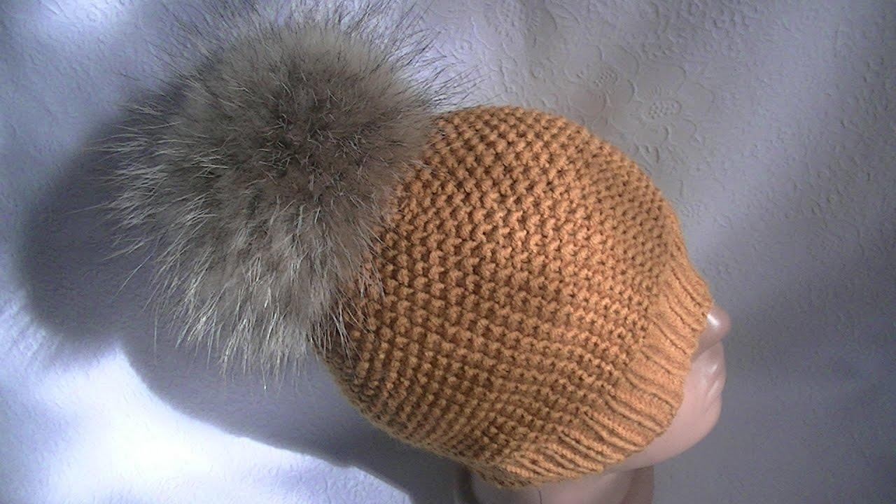 Вязание шапок узором путанка