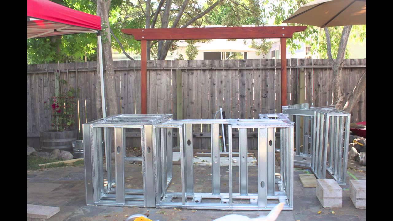 Building an outdoor kitchen island youtube for Outdoor kitchen wood frame