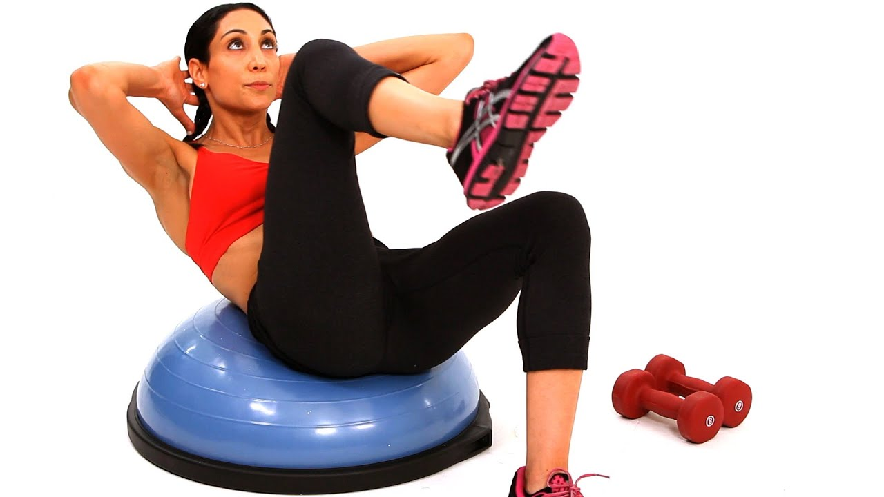 How To Do A Bicycle Crunch Bosu Ball Workout Youtube