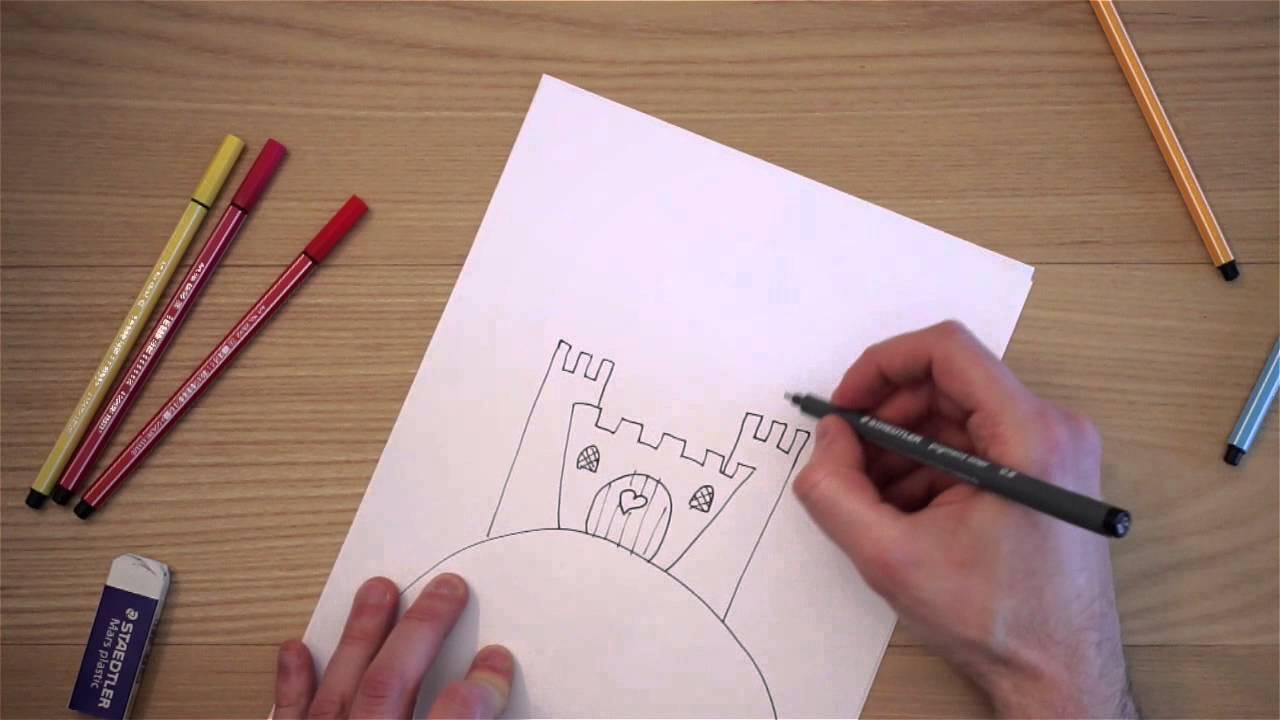 Come disegnare un castello youtube for Coniglio disegno per bambini
