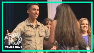 Air Force Airman surprises sister at Pasco County 8th grade ceremony