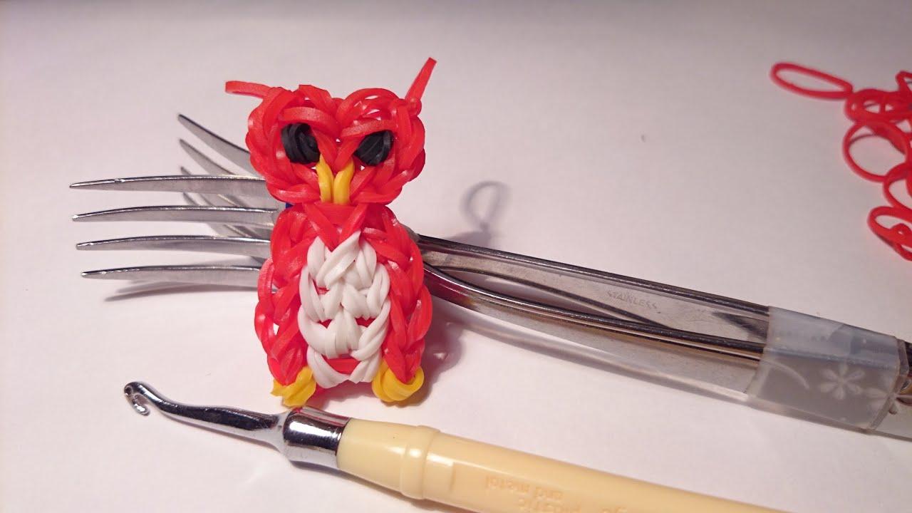 Схемы плетения совы из резинок на вилке