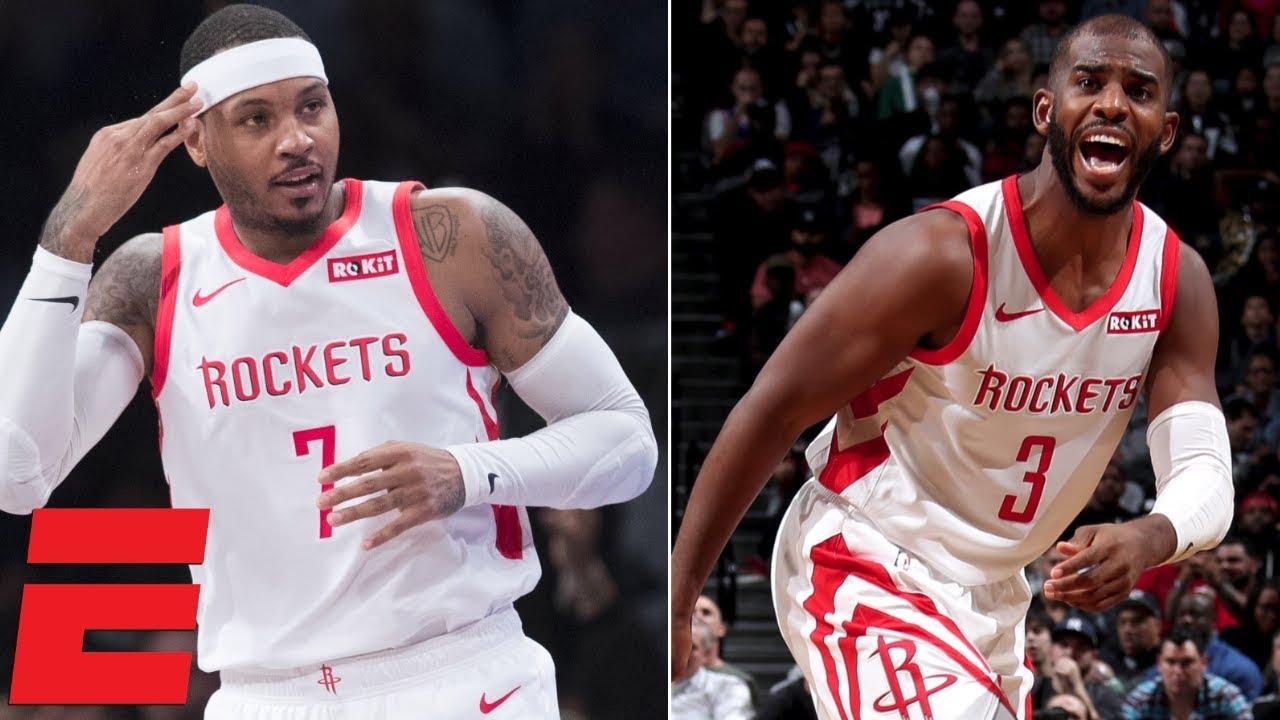 Chris Paul, Carmelo Anthony lead Rockets to win vs. Nets | NBA Highlights