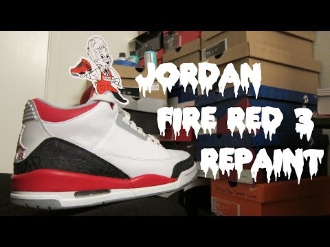 Jordan Fire Red 3 Full Repaint (Time Lapse)