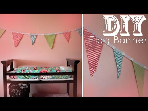 DIY Flag Banner Pennants (NO SEW) - Holiday, Dorm, Nursery Decor Idea!