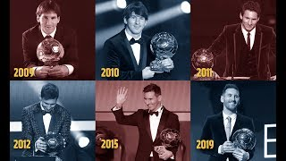 Relive Leo Messi's six Ballon d'Or triumphs