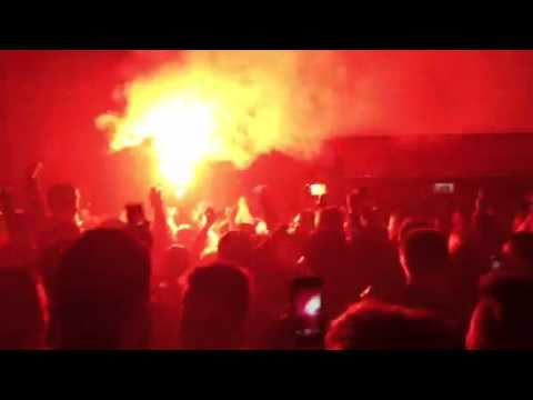 United Fans Flares Man United Fans Singing With