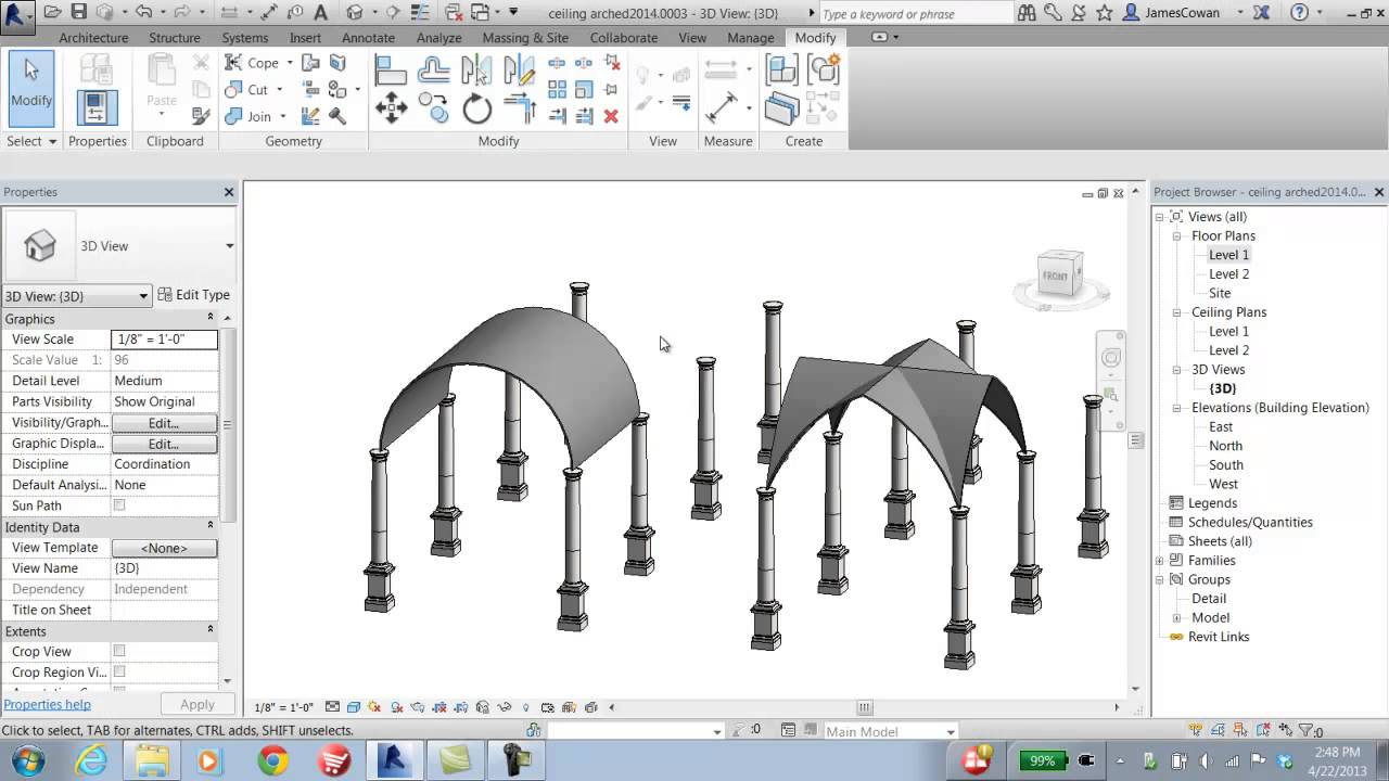 Revit2014 Barrel Vault Ceiling Youtube