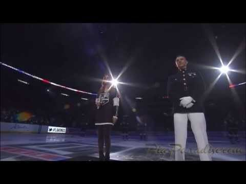 Pia Toscano Sings The National Anthem - LA Kings Season Opener vs San Jose Sharks - 10/8/14