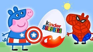 Wrong Dress Peppa Pig Superhero Episode Kinder Joy Cartoon Surprise Eggs Unboxing (#1)