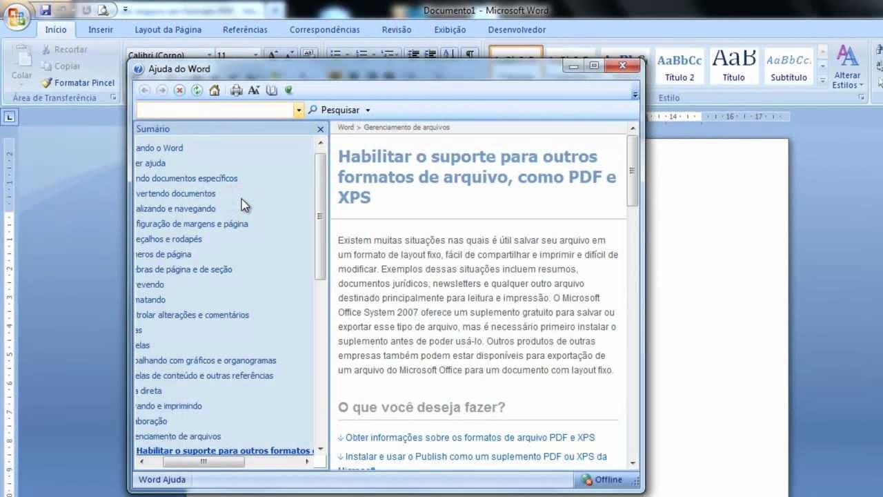 Como salvar no formato PDF utilizando Word 2007 - YouTube