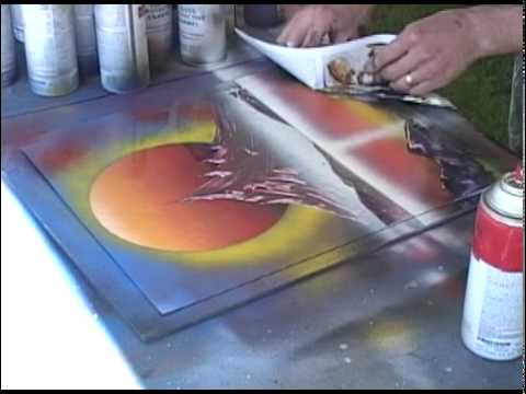 Spray Paint Art live painting (Sun and Violet mountain)