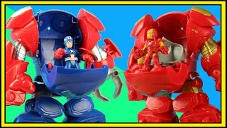 Playskool Heroes Space Command Armor Captain America and Spiderman battle Thanos and Ironman robot