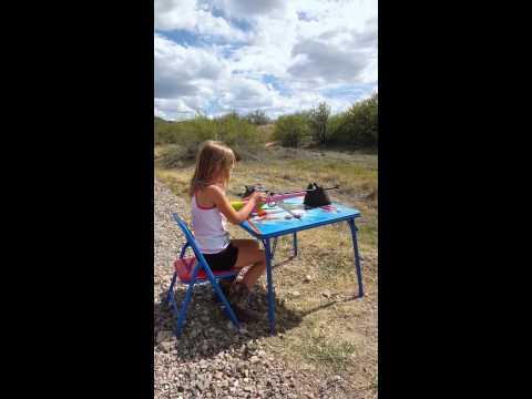 Emma shooting her cricket 22lr