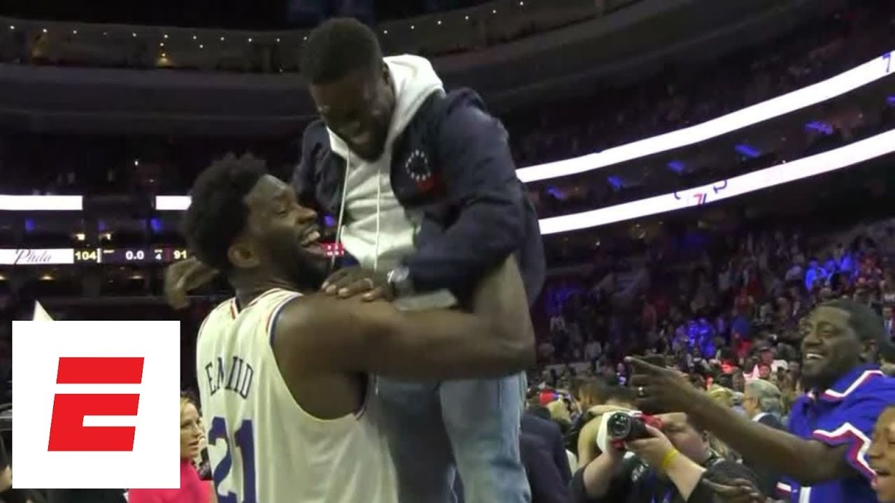 Joel Embiid celebrates with Kevin Hart after 76ers win first-round series over Heat   ESPN