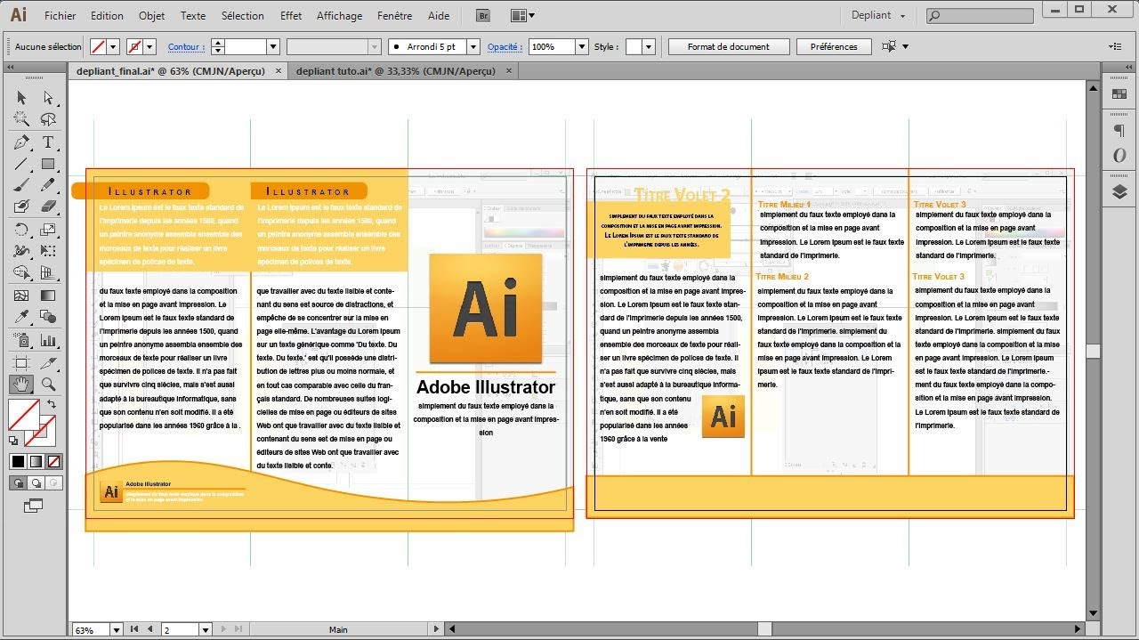 D pliant 3 volets recto verso tutoriel illustrator - Comment faire une brochure sur open office ...