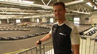 Ralf Schumacher shows his go-kart track and bowling alley