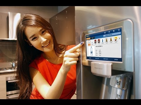 "Samsung RF4289HARS 28 cu. ft. 4-Door Refrigerator and 8"" LCD Digital Display with Apps (overview)"