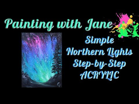 Simple Northern Lights Step by Step Acrylic Painting on Canvas for Beginners