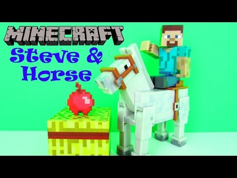 Minecraft Overworld Steve And Horse Figures Playset Fun Toy Review For Kids, Mojang