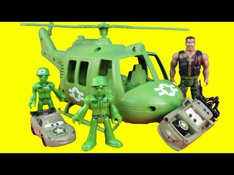 Disney Pixar Toy Story Combat Carl & Imaginext Army Figures Rescue Lightning McQueen Sully