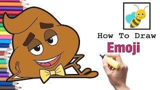 How To Draw Poop Emoji and Coloring Poop Emoji | Bee Art