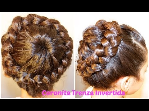 Peinado Facil Coronita con Trenza Invertida | Peinados Sencillos Para ninas