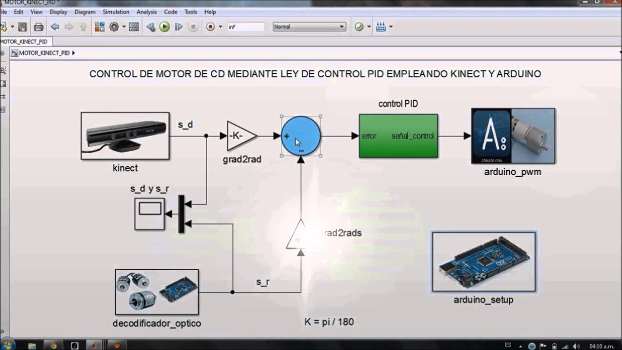 Control Pid Motor Kinect Arduino Simulink Youtube